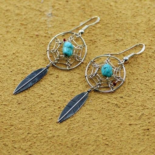 dream catcher earrings - single feather