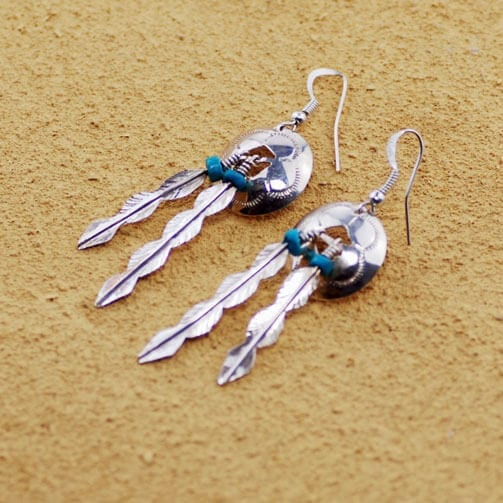 Long Feather Spirit Shield Earrings