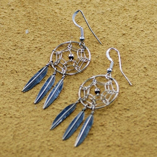 3 Feather Dream Catcher Earrings