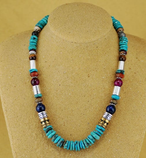 Tommy Singer Necklace With Turquoise And Semi Precious Stones