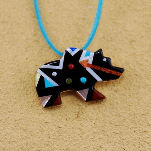 E. Dhinsatty Zuni Inlay Bear Pendant