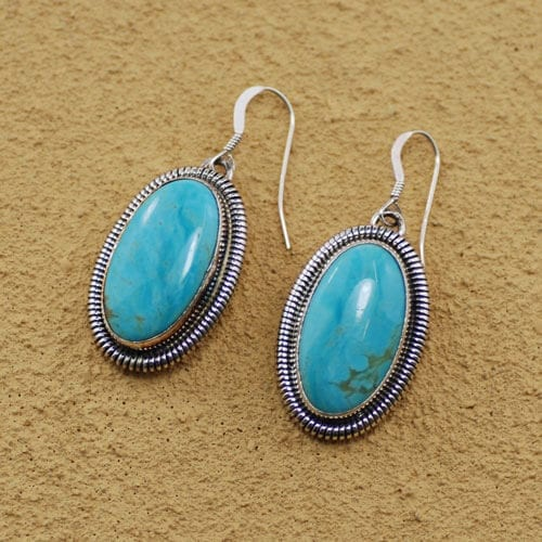 Sterling Silver and Turquoise Oval Cut Earrings