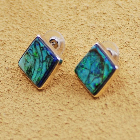 Sterling Silver & Spider Opal Square Earrings