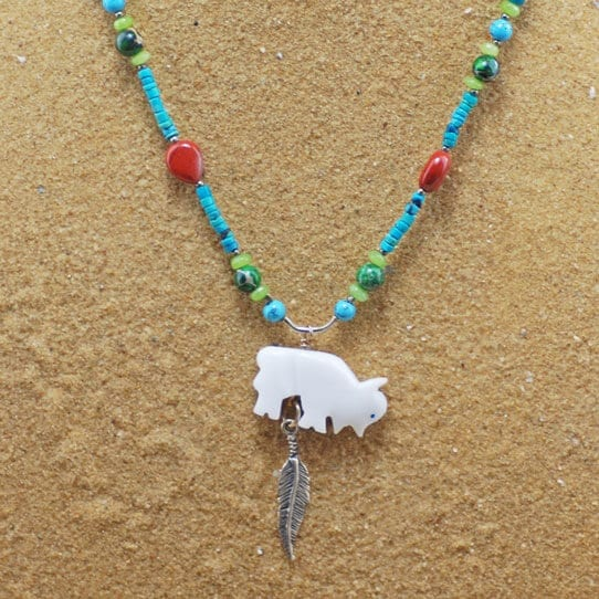 Hand Carved Buffalo Fetish Necklace with feather
