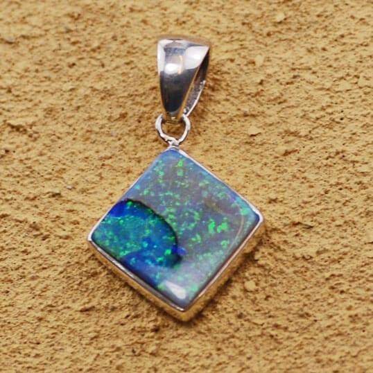 Sterling Silver Spider Opal Diamond Shape Pendant