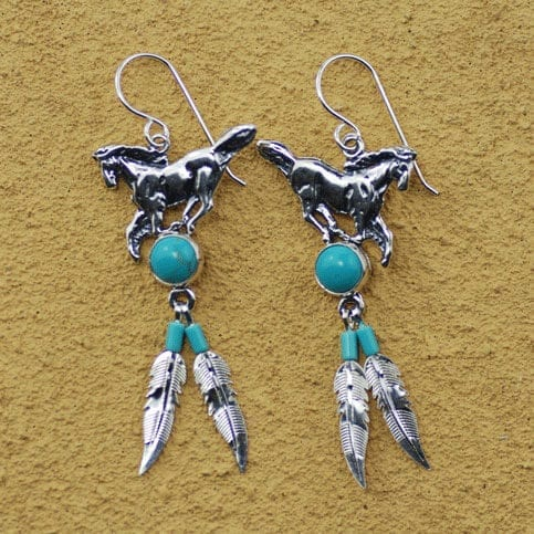 Running Horse With Feathers Earrings