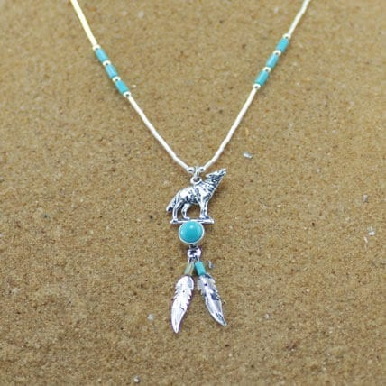Howling Wolf and Feather Necklace