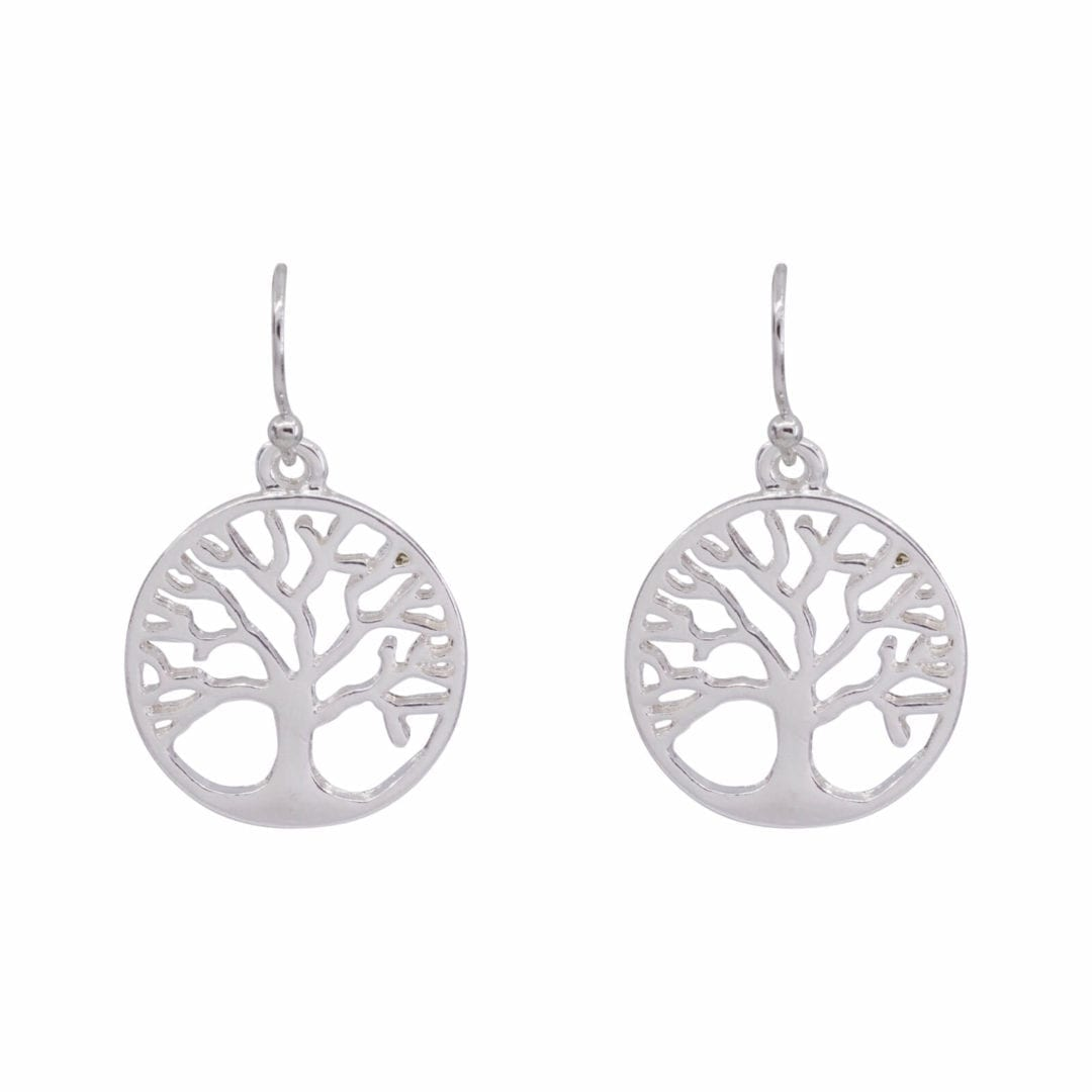 DE0384S silver traditional tree of life design earrings