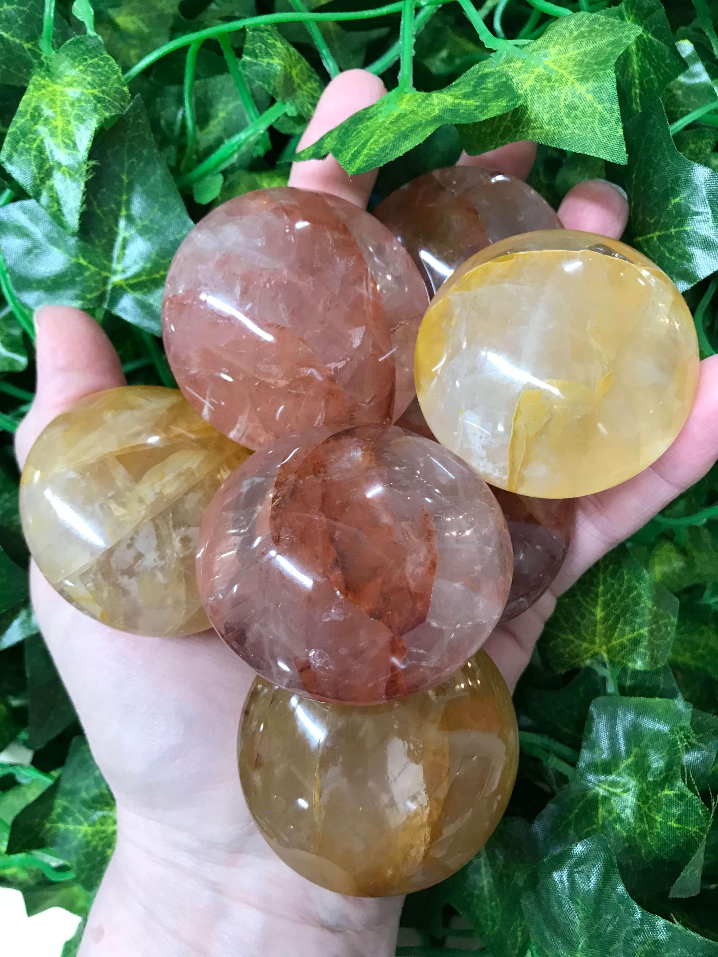 Hematoid Quartz Palm Stone Gold - 87-88 grams