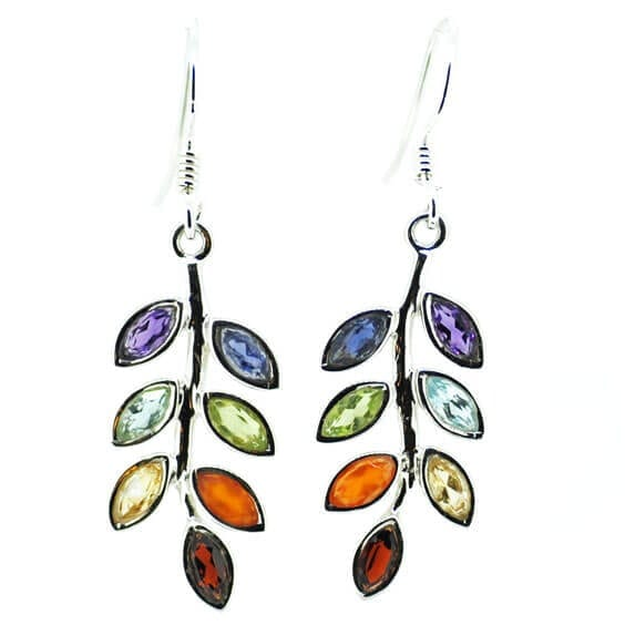 Leaf Design Chakra Earrings