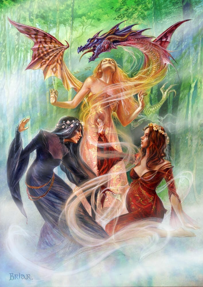Triple Goddess Summoning The Earth Dragon Card