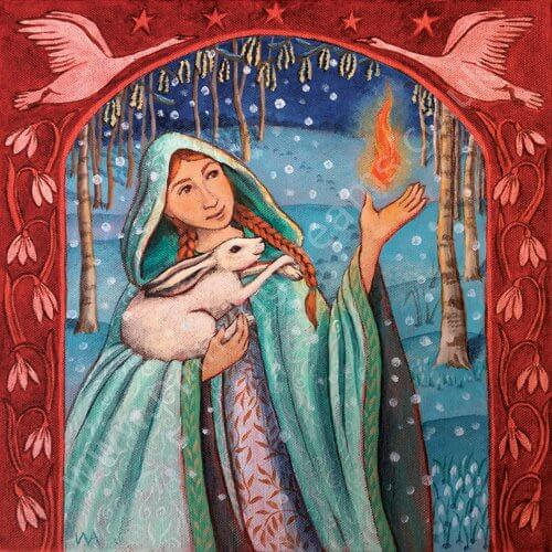 Brigid Holds The Flame of Re-Birth Card by Wendy Andrew