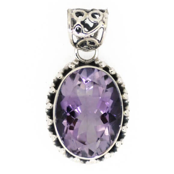 Oval Amethyst Pendant With Decorative Bale