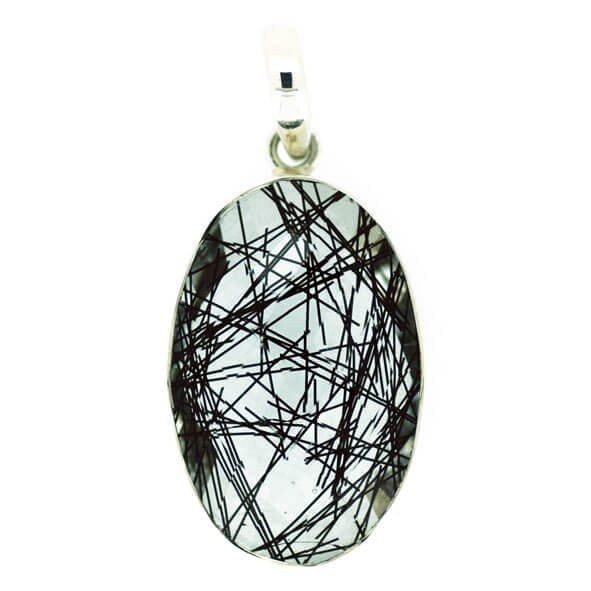 Faceted Tourmalinated Quartz Oval Pendant - 15.3 grams