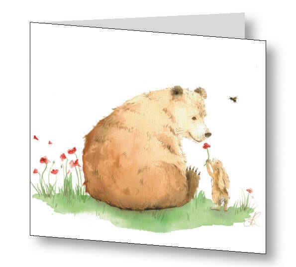 Bear and The Hare In Spring Card
