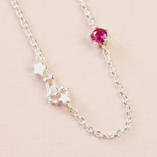 Leo Constellation & Birthstone Necklace