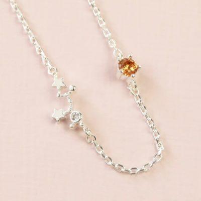 Sagittarius Constellation & Birthstone Necklace