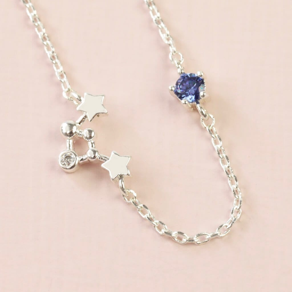 Libra Constellation & Birthstone Necklace