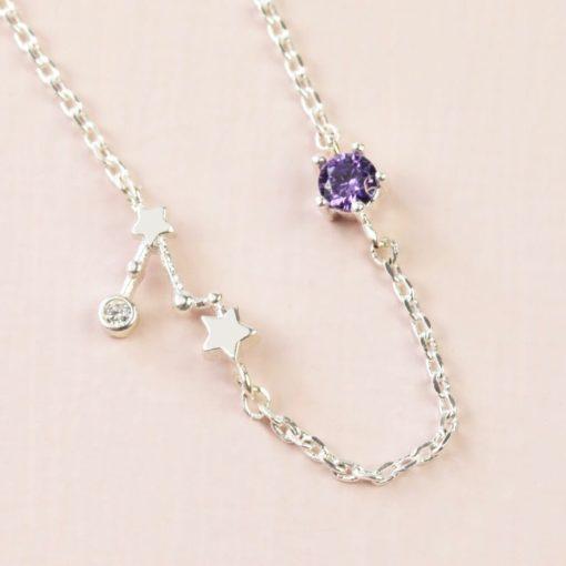 Pisces Constellation & Birthstone Necklace