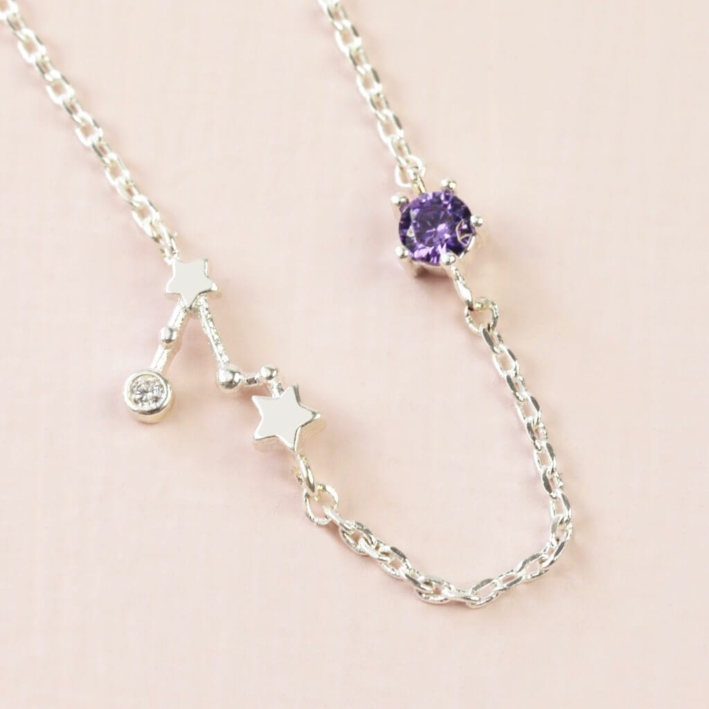 Pisces Constellation & Birthstone Necklace