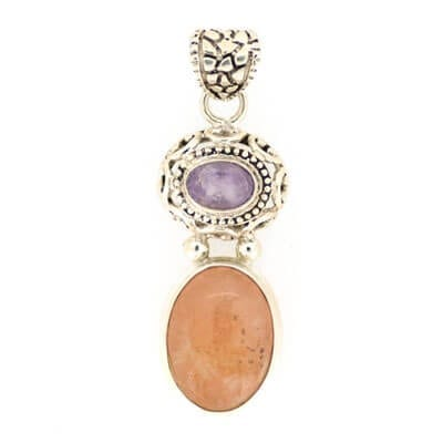 Morganite With Amethyst Pendant 6.1 grams