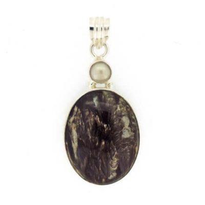 Black-Seraphinite-and-Pearl-Pendant-7.8-grams-7428