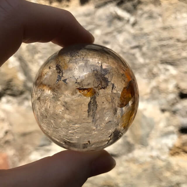 Clear Quartz Sphere With Inclusions 50mm