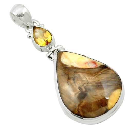 Fossil Wood and Citrine Pendant 7.9 grams