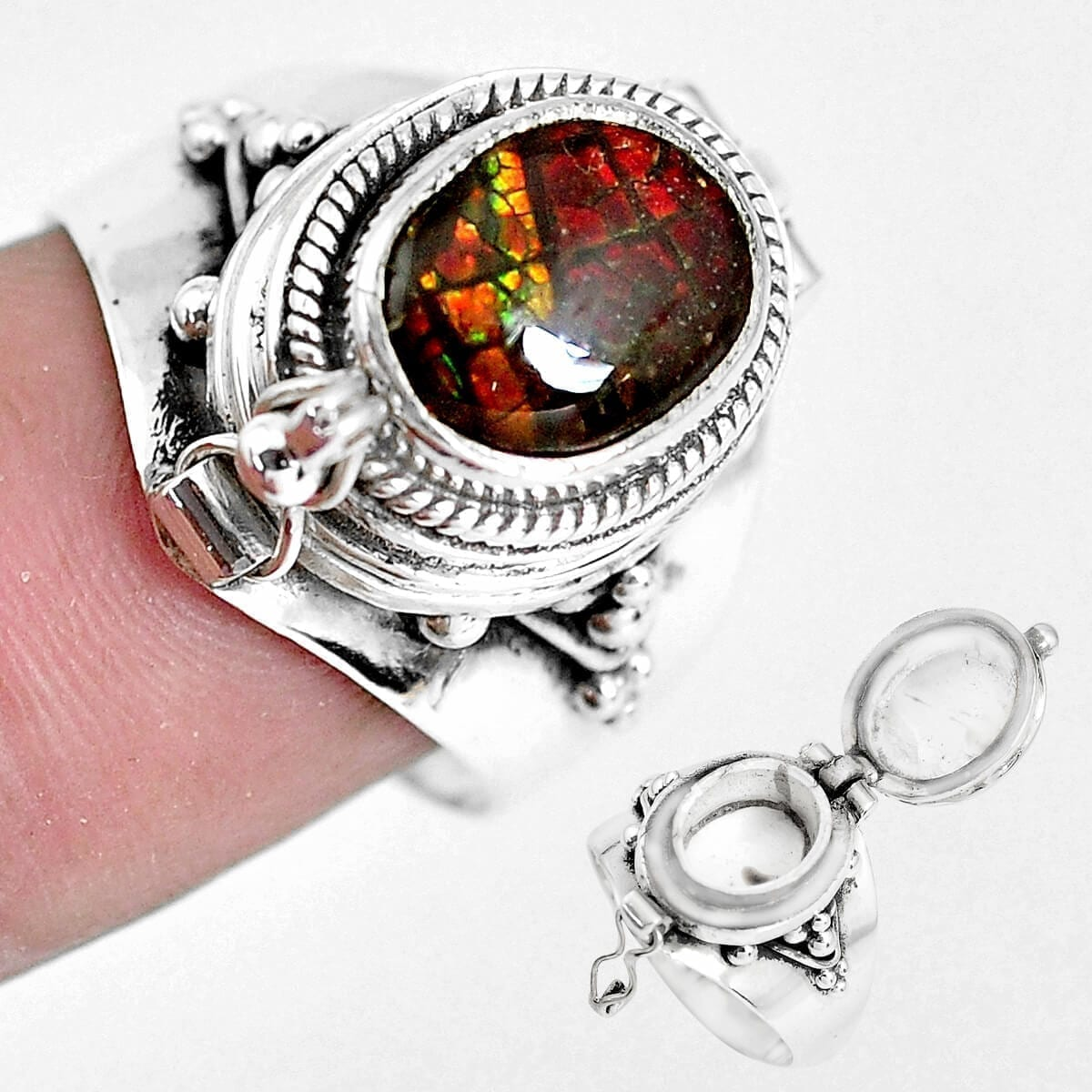 Sterling Silver Ammolite Secret Message Ring - Size P
