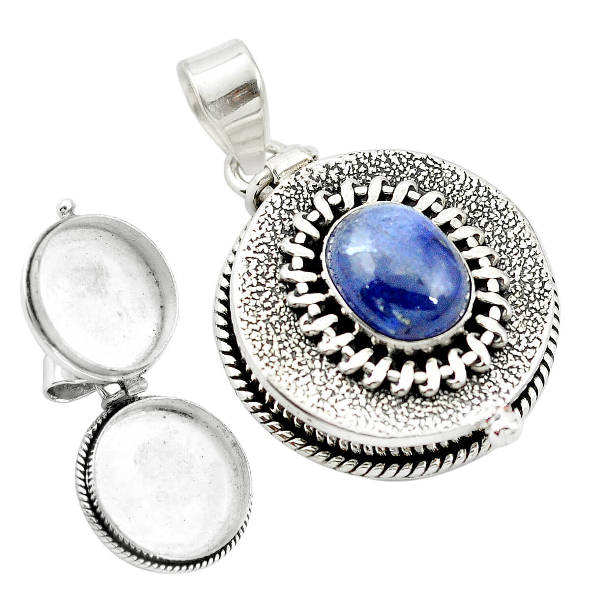 Sterling Silver Tanzanite Secret Message Locket 11.9 grams