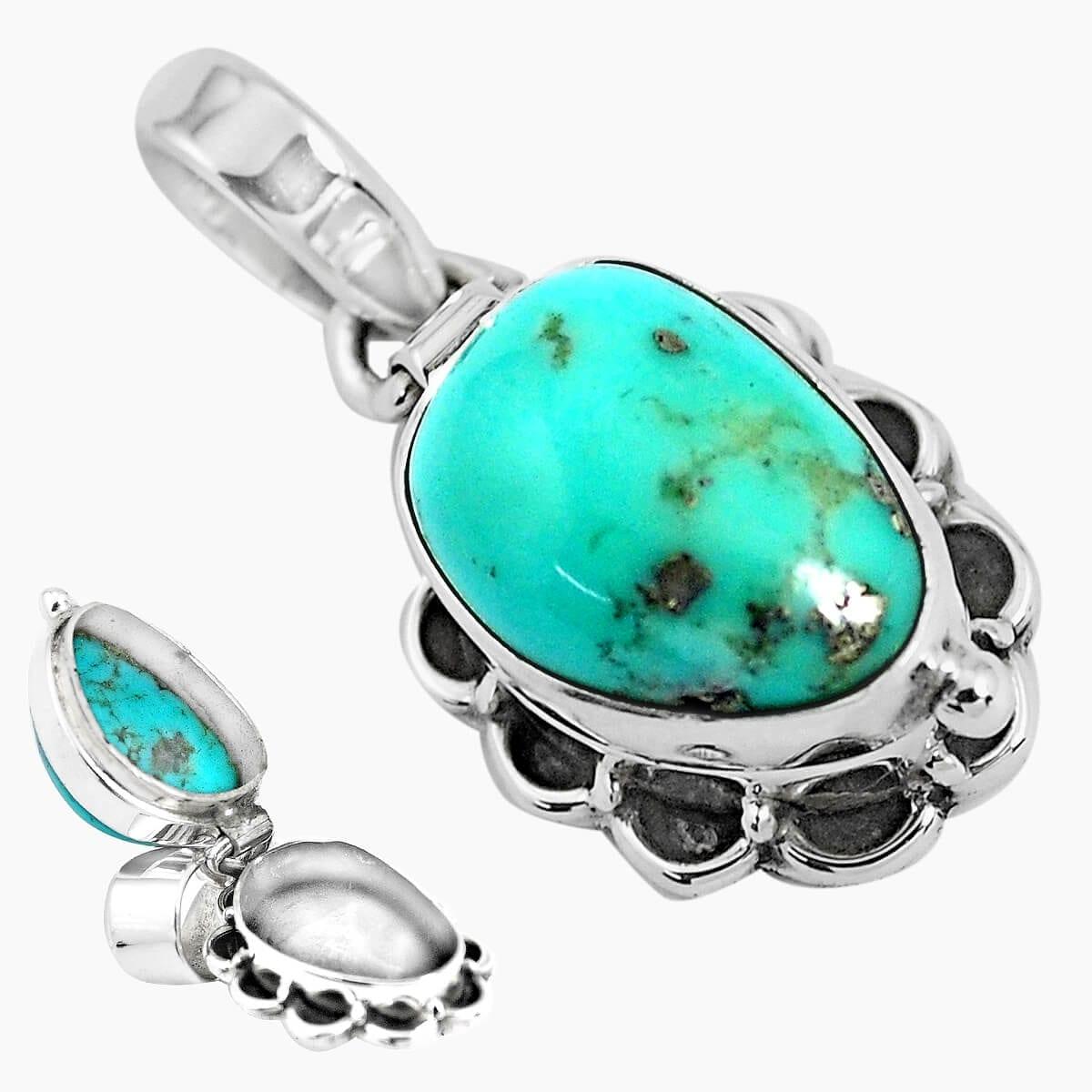 Sterling Silver Turquoise Secret Message Locket - 5.2 grams