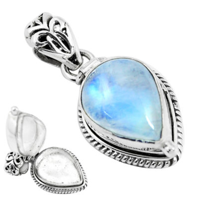 Sterling Silver Rainbow Moonstone Secret Message Locket - 5.9 grams