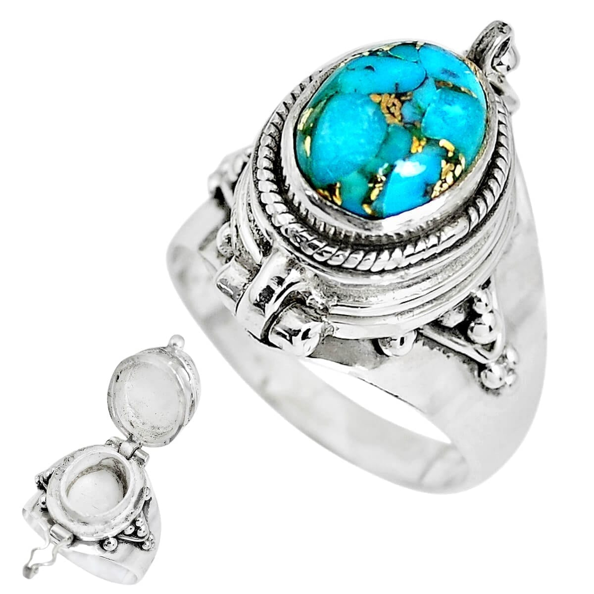 Sterling Silver Copper Mohave Turquoise Secret Message Ring - Size O