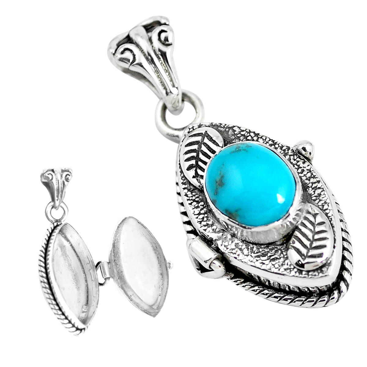 Sterling Silver Turquoise Secret Message Locket - 7.4 grams