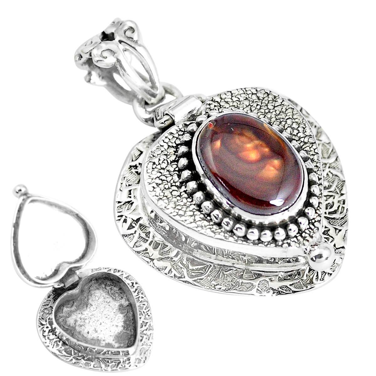 Sterling Silver Ammolite Secret Message Locket - 7.6 grams