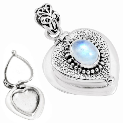 Sterling Silver Rainbow Moonstone Secret Message Locket - 8 grams